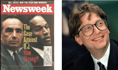 OJ Simpson Trial and Bill Gates predictions about 'dinosaur banks' in Newsweek Magazine